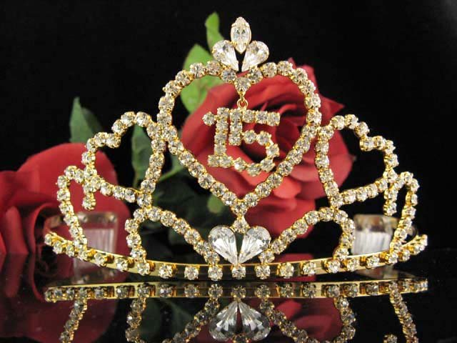 Huge Golden Sweet 15 Crystal Happy Birthday Tiara ;Delicate Sweetheart Crown Regal #57g