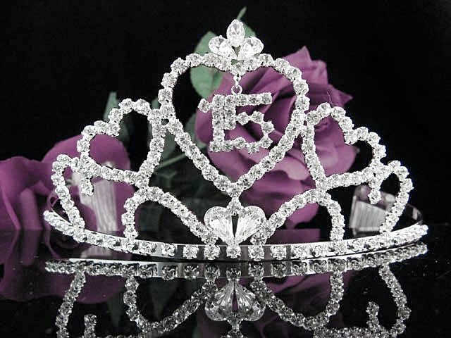 Huge Silver Sweet 15 Crystal Happy Birthday Tiara ;Delicate Sweetheart Crown Regal #58