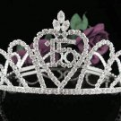 Silver Sweet 15 Crystal Happy Birthday Tiara Crown ;Delicate Sweetheart Full Crown Regal #60