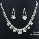 Sparkle Fashion Jewelry;Silver Bridal Necklace Set;Rhinestone Wedding Pin Earring Necklace Set #1106