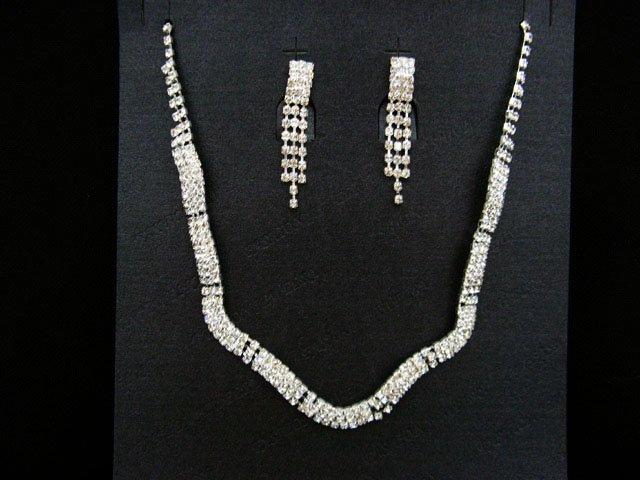 Sparkle Fashion Jewelry;Silver Bridal Necklace Set;Rhinestone Wedding Pin Earring Necklace Set #1055