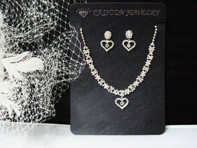 Fashion Jewelry;Silver Bridal Necklace Set;Rhinestone Wedding Slip Earring Necklace Set #1089