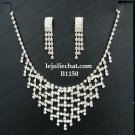 Fashion Jewelry;Silver Bridal Necklace Set;Rhinestone Wedding Slip Earring Necklace Set #1150