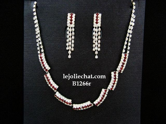 Fashion Jewelry;Silver Bridal Necklace Set;Rhinestone Wedding Clip Earring Necklace #1266r