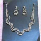 Silver Fashion Jewelry;Triple Bridal Necklace Set;Rhinestone Wedding Clip Earring Necklace #3437