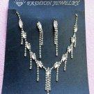 Silver Fashion Jewelry set; Bridal Necklace Set;Rhinestone Wedding Clip Earring Necklace #1499
