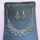 Silver Fashion Jewelry set; Bridal Necklace Set;Rhinestone Wedding Clip Earring Necklace set #64