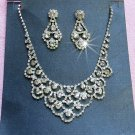 Silver Fashion Jewelry set; Bridal Necklace Set;Rhinestone Wedding Clip Earring Necklace set #191
