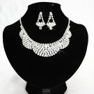 Silver Fashion Jewelry set; Bridal Necklace Set;Rhinestone Wedding Clip Earring Necklace set #1905