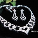Silver Sweetheart Jewelry set; Bridal Necklace Set;Rhinestone Wedding Clip Earring Necklace #1132