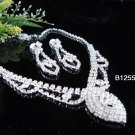 Silver elegance Jewelry set; Bridal Necklace Set;Rhinestone Wedding pin Earring Necklace #1255