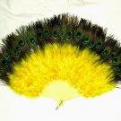 Coque Rooster Handmde Peacock eye & yellow marabou feather Fan;Bridal Party Chandelle Fluffy Fan#3y