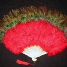 Coque Rooster Handmde Peacock eye & red marabou feather Fan;Bridal Party Chandelle Fluffy Fan#6r