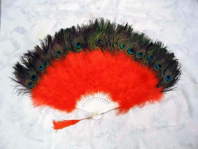 Coque Rooster Handmde Peacock eye & orange marabou feather Fan;Bridal Party Chandelle Fluffy Fan#21