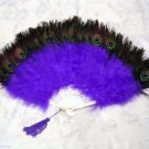 Coque Rooster Handmde Peacock eye & purple marabou feather Fan;Bridal Party Chandelle Fluffy Fan#23