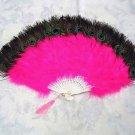 Coque Rooster Handmde Peacock eye & fuchsia marabou feather Fan;Bridal Party Chandelle Fluffy Fan#24