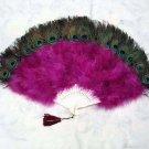 Coque Rooster Handmde Peacock eye & Orchid marabou feather Fan;Bridal Party Chandelle Fluffy Fan#25