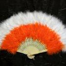 Handmade Rooster white orange marabou feather Fan;Bridal Party Chandelle Fluffy Fan#27