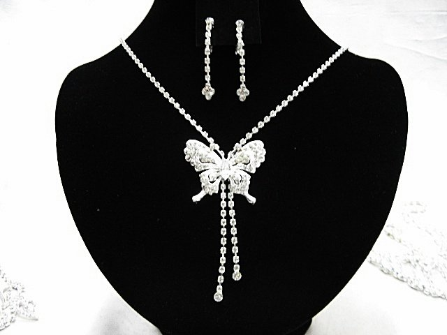 Silver Butterfly Jewelry set; Bridal Necklace Set;Rhinestone Wedding Clip Earring Necklace #3854