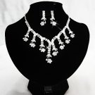 Silver Floral Pearl ewelry set; Bridal Necklace Set;Rhinestone Wedding Clip Earring Necklace #3876