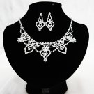 Silver jewelry set;sparkle daisy Bridal Necklace Set;Rhinestone Wedding Clip Earring Necklace #4259