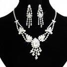 Elegant Silver jewelry set;sparkle Bridal Necklace Set;Rhinestone Wedding Clip Earring Necklace#165