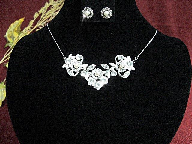 Bridal Necklace Set;Silver jewelry set;sparkle;Rhinestone Wedding pin Earring set #450