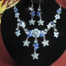 Bridal Necklace Set;Copper Floral jewelry set;sparkle;Rhinestone Wedding Hook Earring set #577b