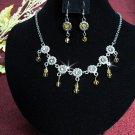 Bridal Necklace Set;Copper Alooy jewelry set;sparkle;Rhinestone Wedding Hook Earring set #586y