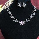 Bridal Necklace Set;Copper Pink jewelry set;sparkle;Rhinestone Wedding Pin Earring set #603p