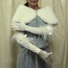 Satin Ivory Ostrich Bridal Glove;Elbow Ribbon Party Bride Gloves #5i