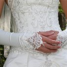 Satin White Fingerless Bridal Gloves ;Elbow French Lace Party Bride Gloves #64w