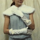 Satin Ivory Bridal Gloves ;Elbow cute bow Party Bride Gloves #78i