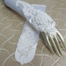 Satin white Bridal Gloves ;Finger-less French Lace w Pearl Bride Gloves #44w