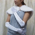 white Bridal Gloves ;Satin Pattern Elbow Bride Gloves #82