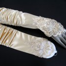 Ivory Finger-less Bridal Gloves ;Satin Elbow Pleat Bride Gloves #14i