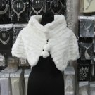 Handmade Ivory Faux Fur Shrug Shawl ;Wedding Wrap;Bridal Scarf #sh5