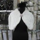 Bridal Faux Fur Shrug : Ivory Shawl Stole ;Wedding Wrap#sh9