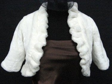 BRIDAL WEDDING OFF WHITE BOLERO ; FAUX FUR SHRUG ; WEDDING WRAP SHAWL SCARF#sh19
