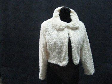 Off White Wedding Bridal Long Sleeve Faux Fur Shawl ;Wedding Bolero Jacket Wrap#sh23