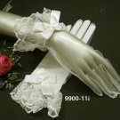 Ivory Bridal Gloves ;Wrist Organza french lace Cute bow Bride Gloves #11i