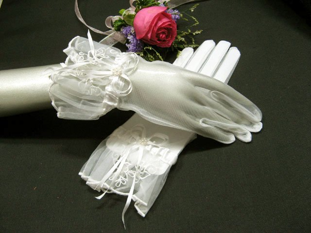 Ivory Pearl Bridal Gloves ;Wrist Organza french lace Cute bow Bride Gloves #11i