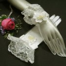 Ivory Floral Bridal Gloves ;Organza French Lace Cute bow Bride Gloves #70i