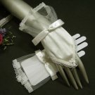 French lace ivory Bridal Gloves ; cute bow finger-less Bride Gloves #61i