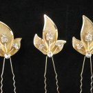 3 PCS BRIDAL HAIRPIN; GOLDEN SPARKLE WEDDING HAIR PIN #986g