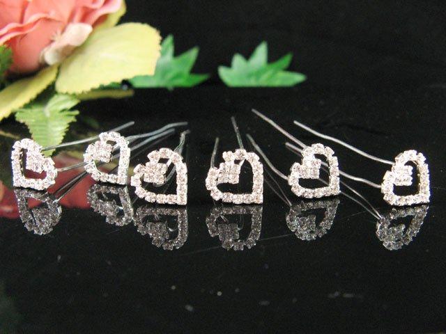 6 PCS BRIDAL HAIRPIN;SILVER SPARKLE SWEETHEART WEDDING HAIR PIN #1678
