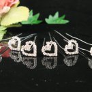 6 PCS BRIDAL HAIRPIN;SILVER SPARKLE SWEETHEART WEDDING HAIR PIN #1678