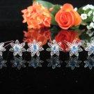 6 PCS BRIDAL HAIRPIN;SILVER SPARKLE DAISY BLUE WEDDING HAIR PIN #1965b