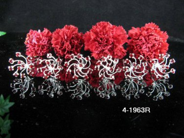 6 PCS BRIDAL HAIRPIN;SILVER RED CRYSTAL WEDDING HAIR PIN #1963r