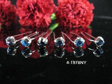6 PCS BRIDAL HAIRPIN;SILVER  NAVY CRYSTAL WEDDING HAIR PIN #1978NY